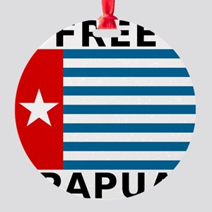 Free Papua Flag Round Ornament