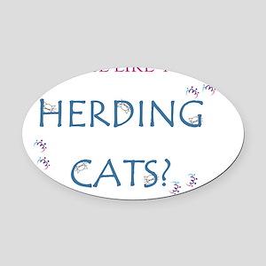 Herding Cats Oval Car Magnet