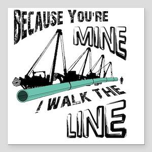 """I Walk The Line Square Car Magnet 3"""" x 3"""""""