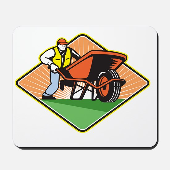 Gardener Pushing Wheelbarrow Retro Mousepad