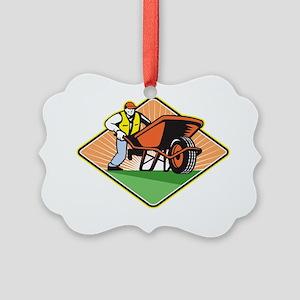 Gardener Pushing Wheelbarrow Retr Picture Ornament