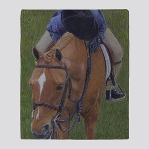 Young Girl and Pony Throw Blanket
