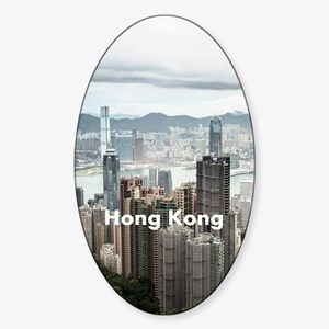 HongKong_8.887x11.16_iPadSleeveFron Sticker (Oval)