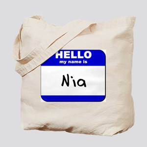 hello my name is nia Tote Bag