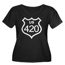 US Highway 420 Women's Plus Size Scoop Neck Dark T