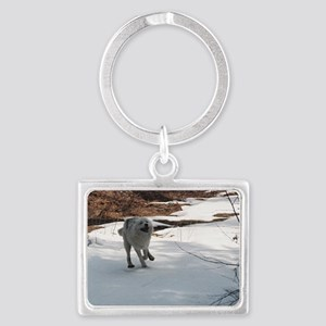 """I  Love  The  Snow,  Lets  Pla Landscape Keychain"