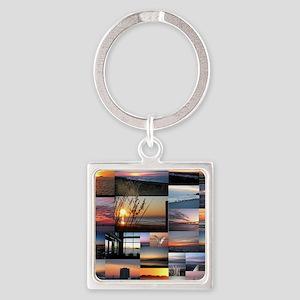 Sunrise/Sunset collage Square Keychain