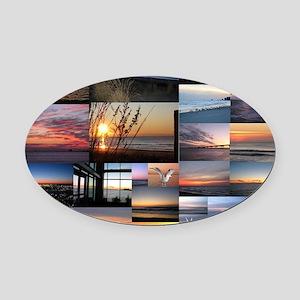 Sunrise/Sunset collage Oval Car Magnet
