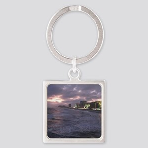 Sunset in Atlantic City Square Keychain
