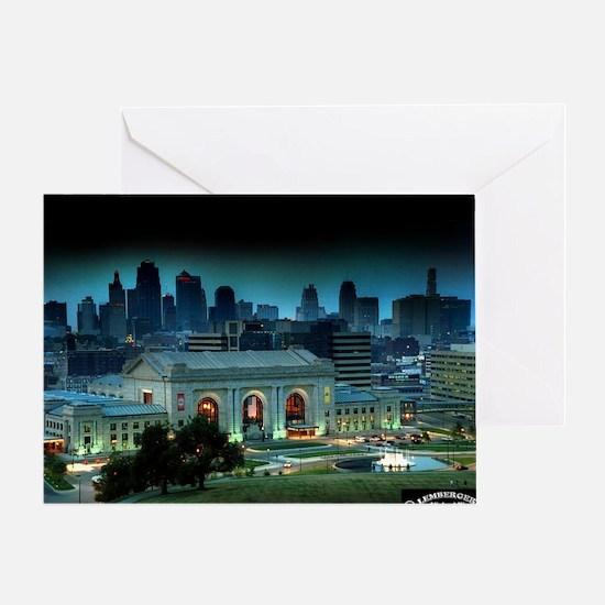 Union Station Kansas City at night Greeting Card