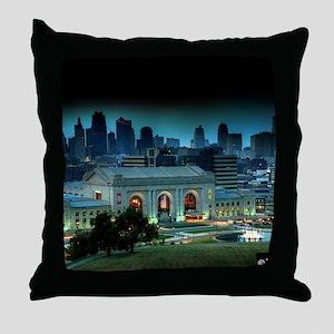 Union Station Kansas City at night Throw Pillow