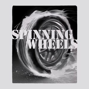 Spinning Wheels Black and White Throw Blanket