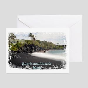Black sand beach Greeting Card