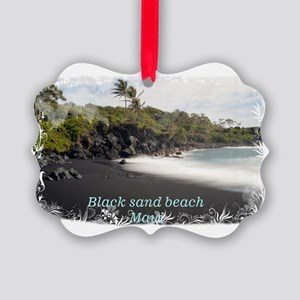 Black sand beach Picture Ornament