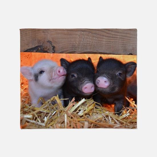 Three Little Piggies Throw Blanket
