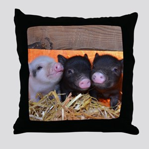 Three Little Piggies Throw Pillow