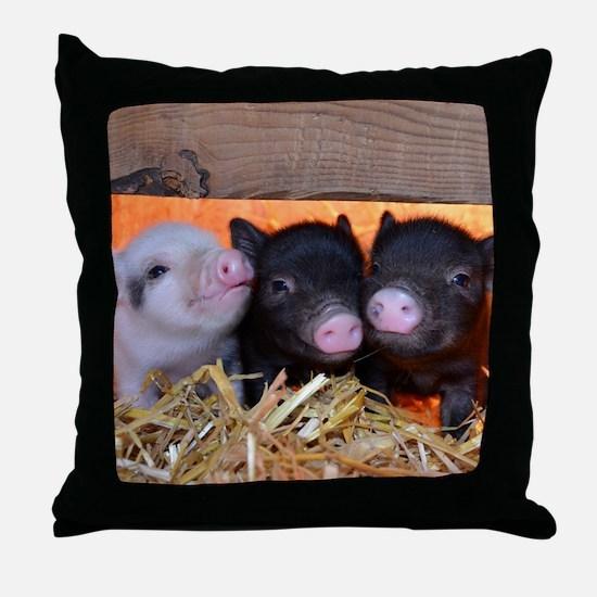 Three Little Piggies Throw Pillow