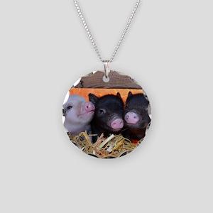 Three Little Piggies Necklace Circle Charm