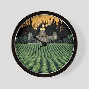 Iowa Capital among Corn  Soybeans Wall Clock