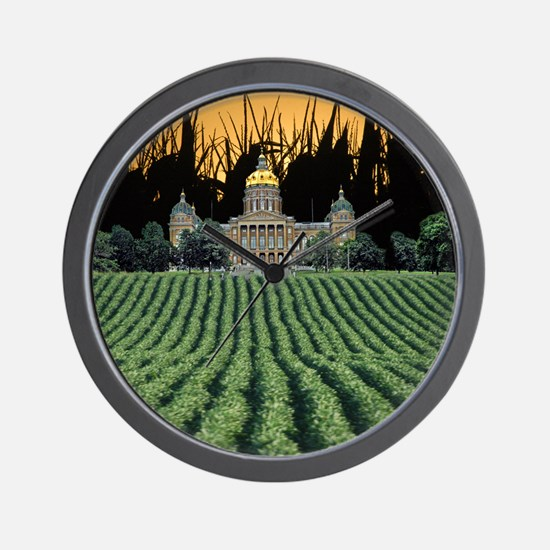 Iowa Capital among Corn  Soybeans Wall Clock