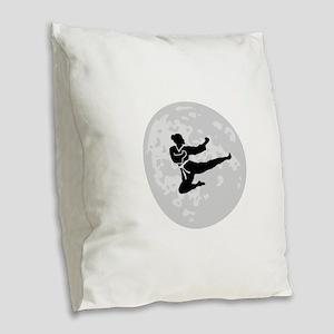 Flying Kick Burlap Throw Pillow
