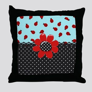 Ladybug Bliss Throw Pillow