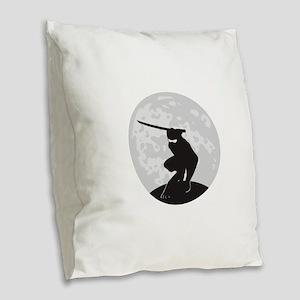 Ninja Burlap Throw Pillow