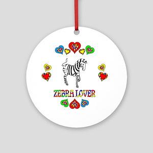 Zebra Lover Round Ornament