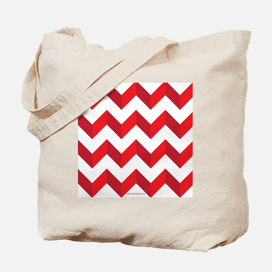 Chevron Red Zig Zag Tote Bag