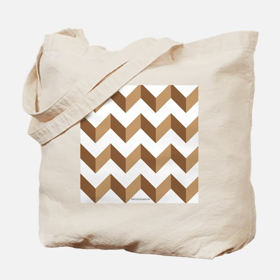 Chevron Tan Zig Zag Tote Bag