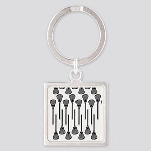 Black and White Lacrosse Stick Pat Square Keychain