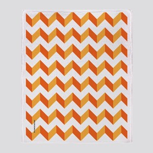 Chevron Orange Zig Zag Throw Blanket