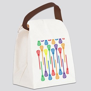 Rainbow Lacrosse Stick Pattern Canvas Lunch Bag