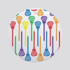 Rainbow Lacrosse Stick Pattern Round Ornament