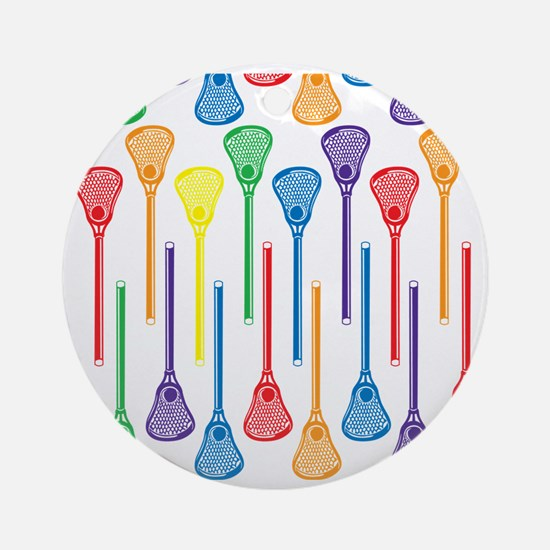 Rainbow Lacrosse Stick Pattern Round Ornament