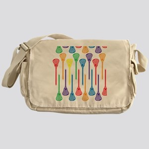 Rainbow Lacrosse Stick Pattern Messenger Bag