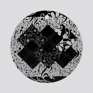 Larissa - Black and White Card Tric Round Ornament
