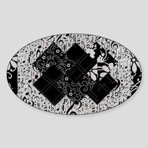 Larissa - Black and White Card Tric Sticker (Oval)