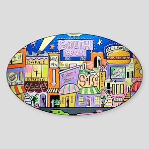 Design #32 SOuth Beach Miami Nightl Sticker (Oval)