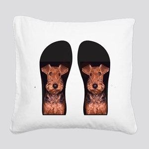 airedale flip flops Square Canvas Pillow