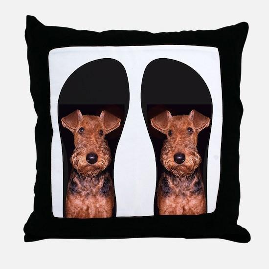 airedale flip flops Throw Pillow