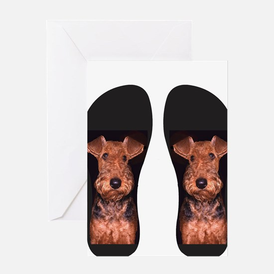airedale flip flops Greeting Card