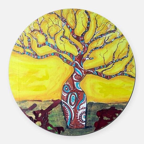 Boab Tree Bright Round Car Magnet