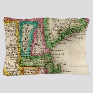 Vintage Map of New England (1822) Pillow Case