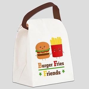 Kawaii Cartoon Burger Fries Frien Canvas Lunch Bag