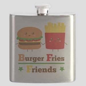 Kawaii Cartoon Burger Fries Friends BFF Flask