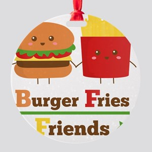 Kawaii Cartoon Burger Fries Friends Round Ornament