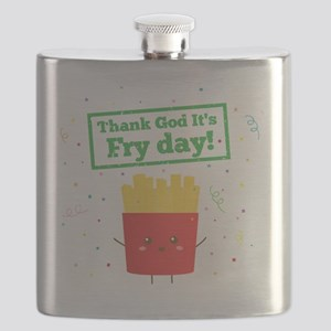Thank God It's Fry Day! with Cute French Fri Flask