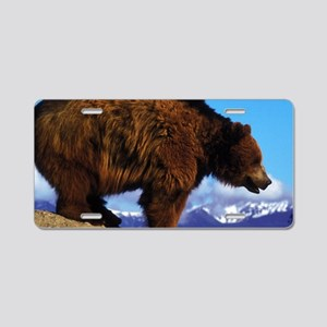 A Grizzly View Aluminum License Plate