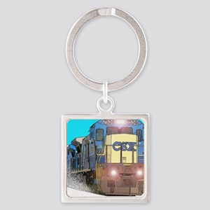 CSX Train Square Keychain